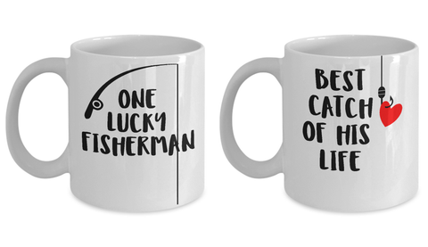 Fishing Couple Matching Mugs Fisherman Gift Idea Set