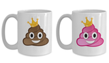 Matching Couple Mugs Queen King Poop Gift Coffee Cup Set