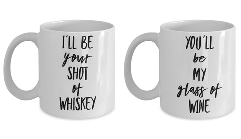 Couple Mugs Matching Drinking Buddies Wine and Whiskey Set