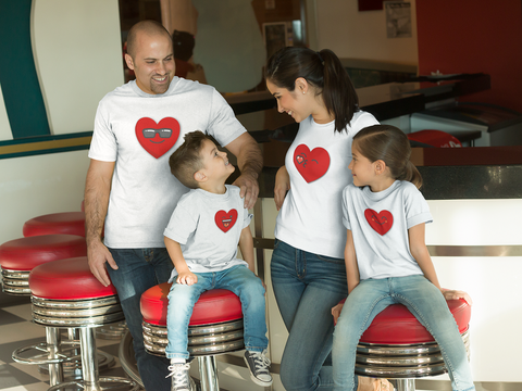 Family Outfits Heart Emoji Matching Shirts Valentine