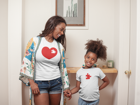 Mommy and Me Outfits Puzzle Piece of My Heart Shirts