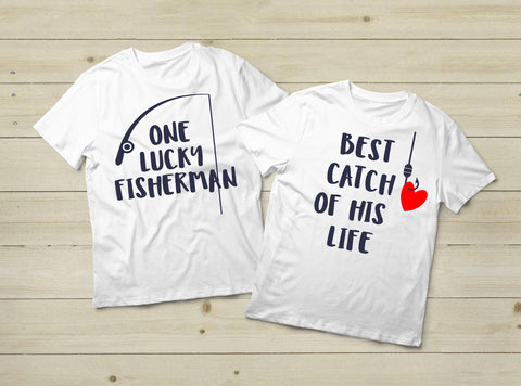 Fishing Couples Shirts Fisherman Love Gift -White
