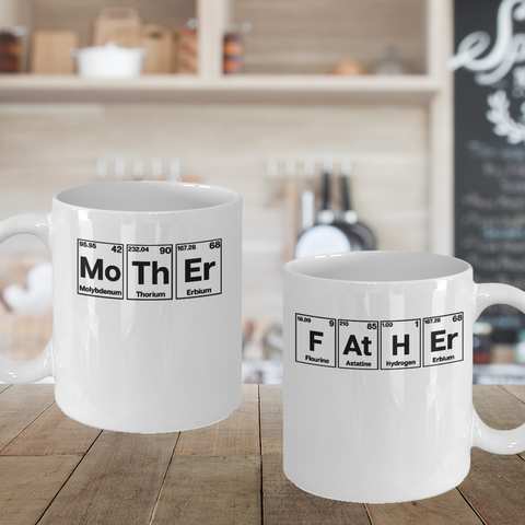 Parents Gift Father Mother Matching Mugs Periodic Table Gift