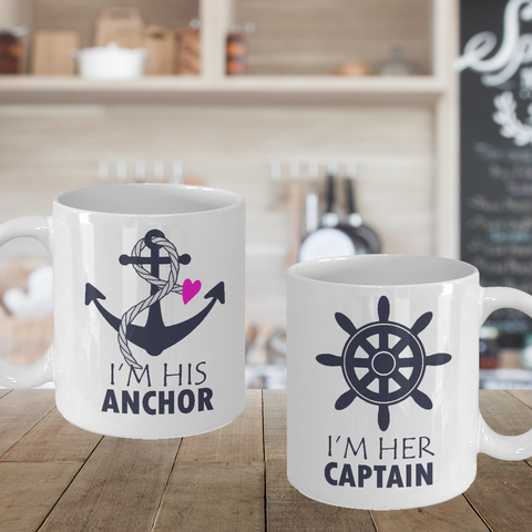 Matching Couple Mugs Her Captain His Anchor Cruising Gift