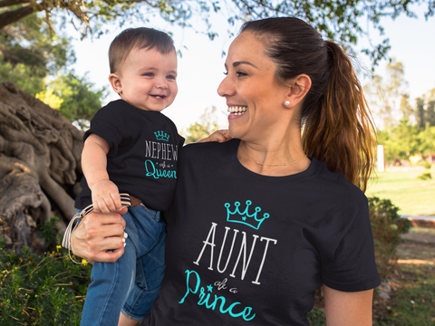Aunt and Nephew Matching Shirts Auntie Queen and Prince Gift