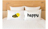 Couple Pillowcases Bee Be Happy Funny Pun