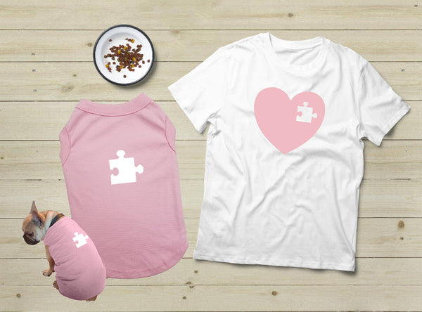 T Shirt For a Dog Lover Gift Matching Pajamas with Dog Puzzle Heart