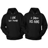 Couples Hoodies His and Hers Guns Buns