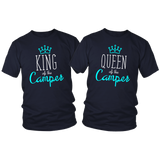 Camping T Shirts for Couples King and Queen of the Camper