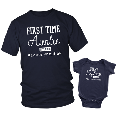 Aunt and Nephew Shirts First Time Auntie 2020