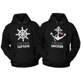 Couples Hoodies Her Captain His Anchor-Nautical Gift-Black