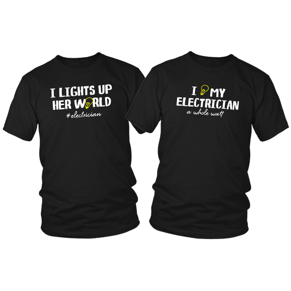T Shirts for Couples Electrician Love