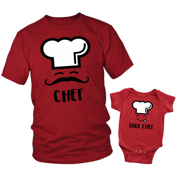 Father Son Shirts Matching Chef and Sous Chef - Baby