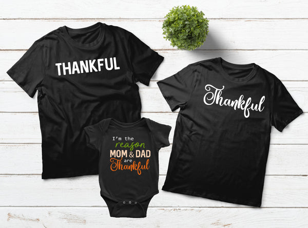 Thankful Family T Shirts Thanksgiving Outfit
