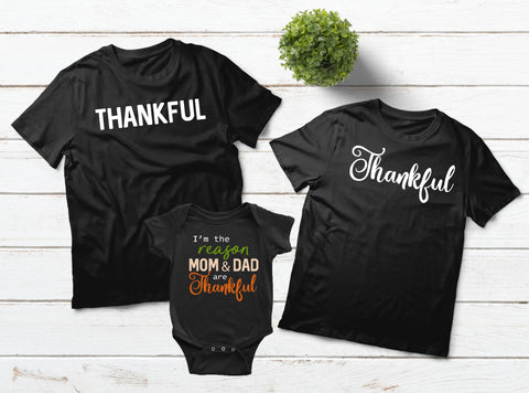 Thankful Family T Shirts Thanksgiving Outfit ... 2175cc605