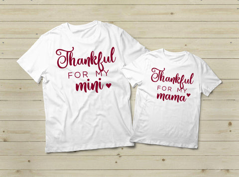 Mommy and Me Fall Shirts Thankful and Blessed Thanksgiving Outfit