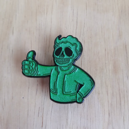 VAULT BOY SKELETON ENAMEL PIN - Pip Boy 'Glow in the dark' edition