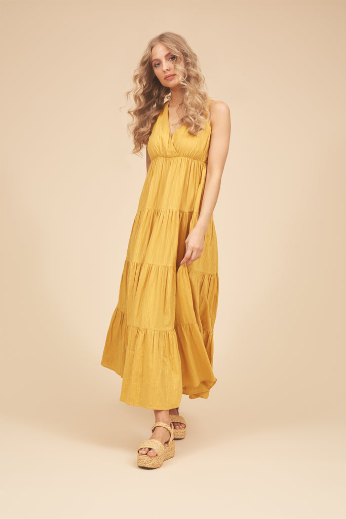 Traffic People Sleeveless Gaia Maxi Dress in Mustard Front View Image