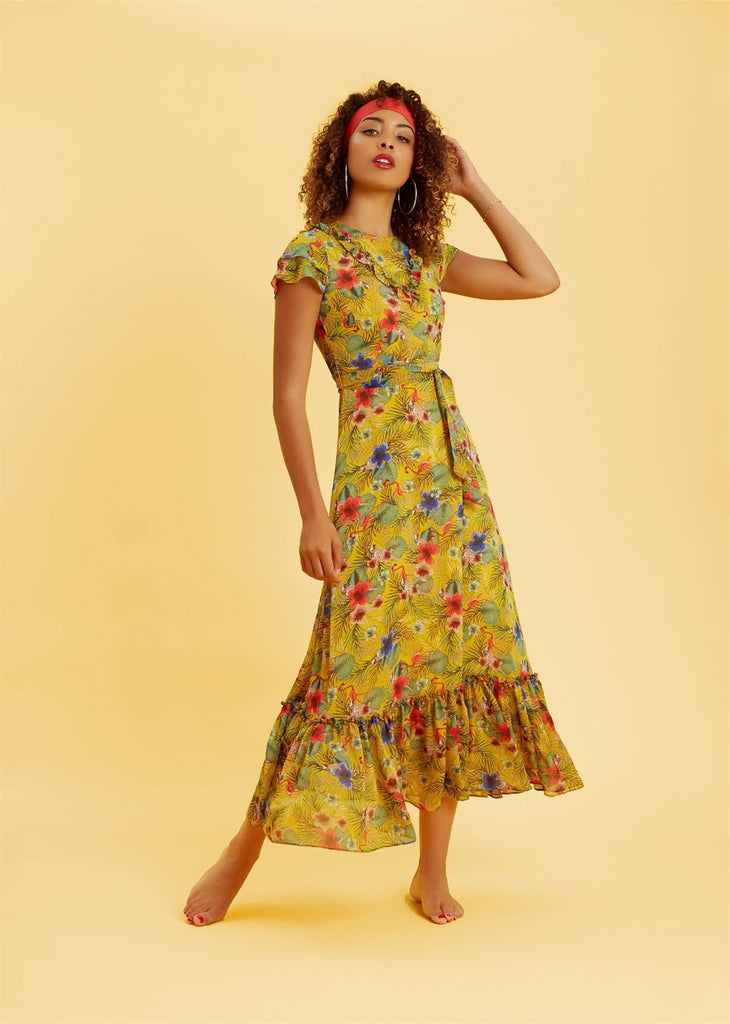 Forgiven Cap Sleeved Maxi Dress in Mustard