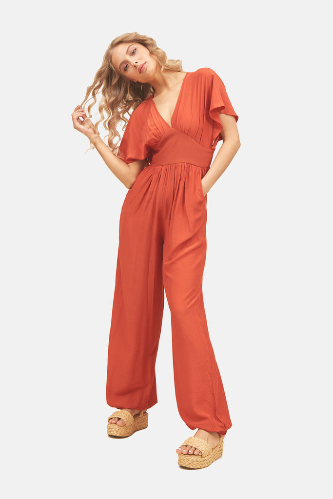 Traffic People Genie Wide Leg Jumpsuit in Red Front View Image