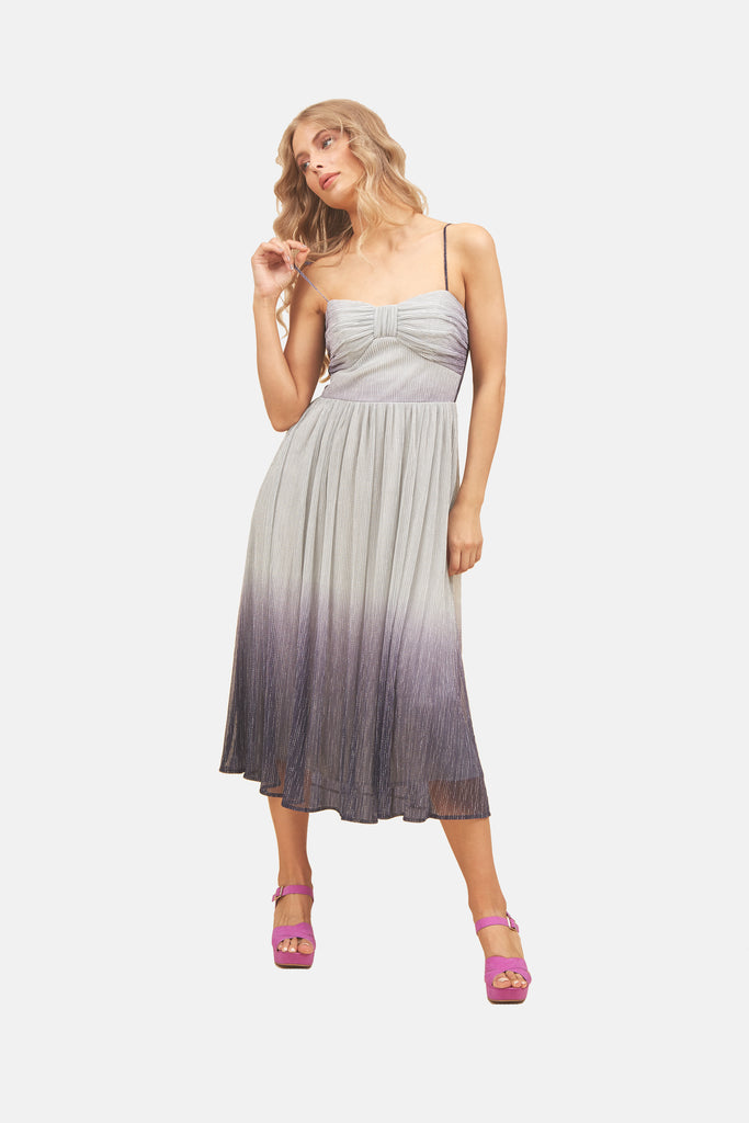 Traffic People Strappy Ombre Midi Dress in Grey and Blue Front View Image