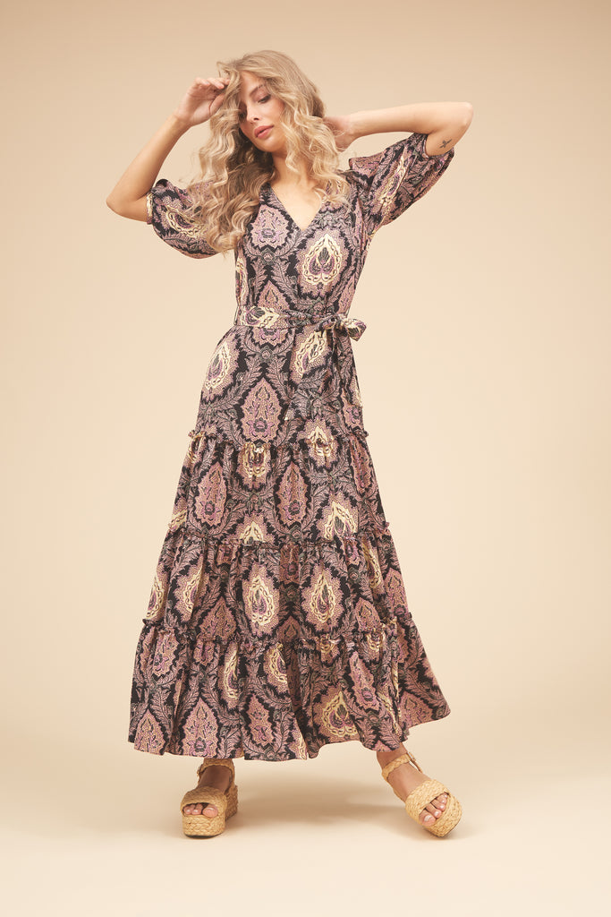 Traffic People Felicitations Paisley Print Maxi Dress in Black and Purple Front View Image