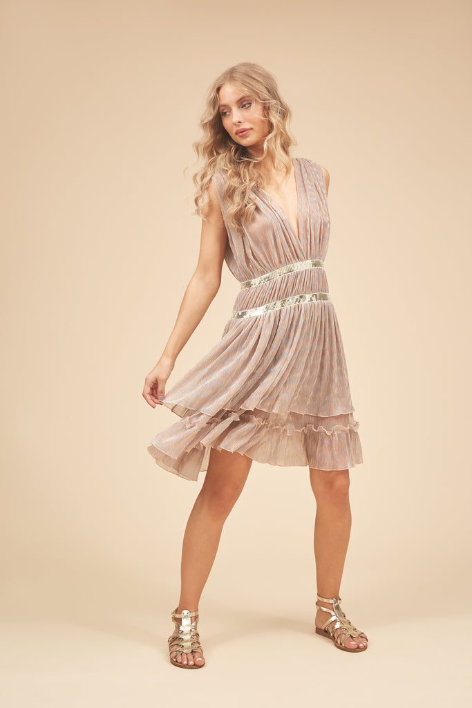 Traffic People Reckless V-neck Mini Dress in Metallic Gold Front View Image