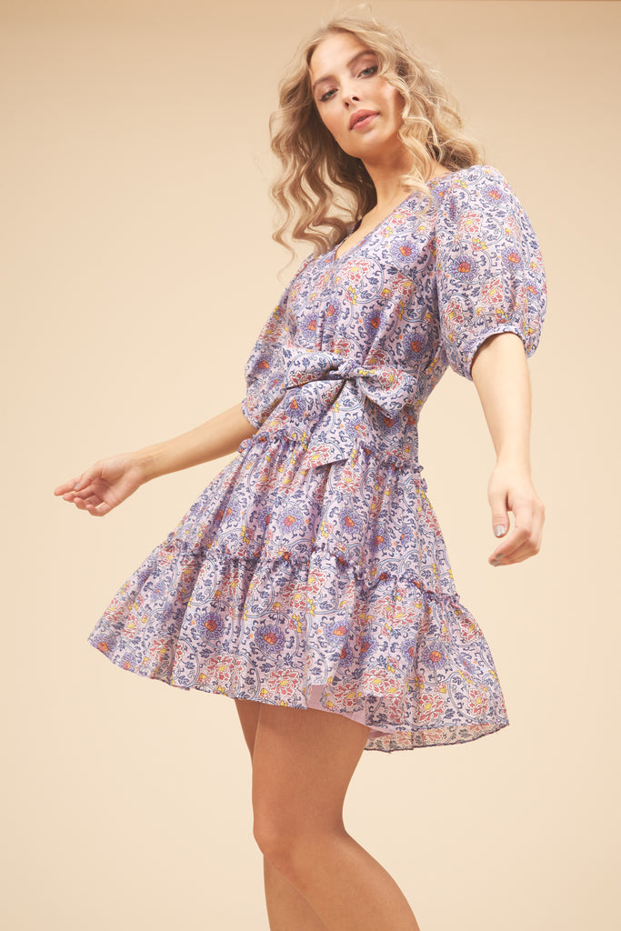 Traffic People Felicitous Boho Mini Dress in Purple Front View Image