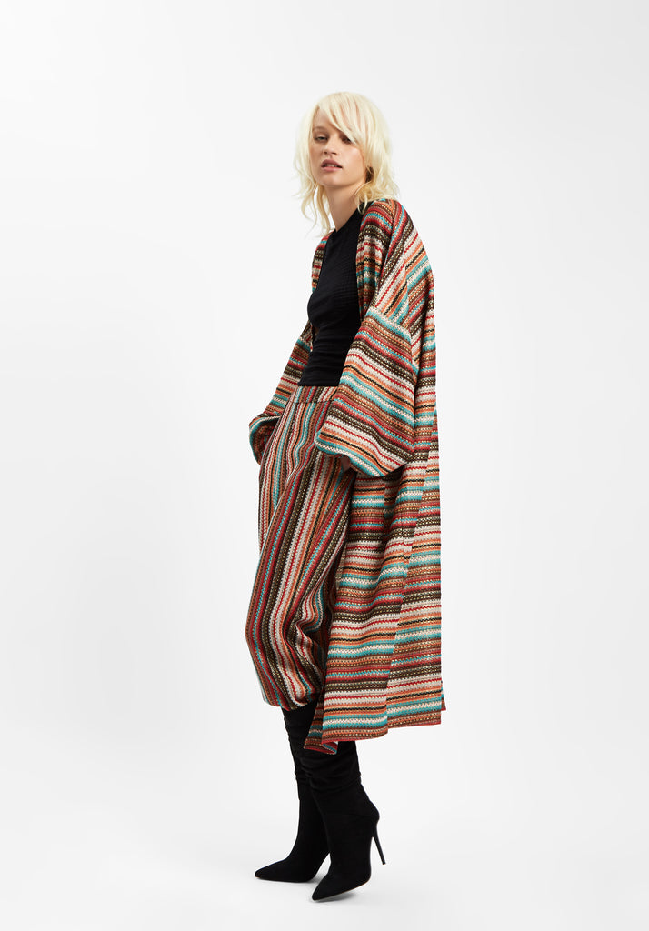 Striped Long Sleeved Shrug Jacket in Multicoloured