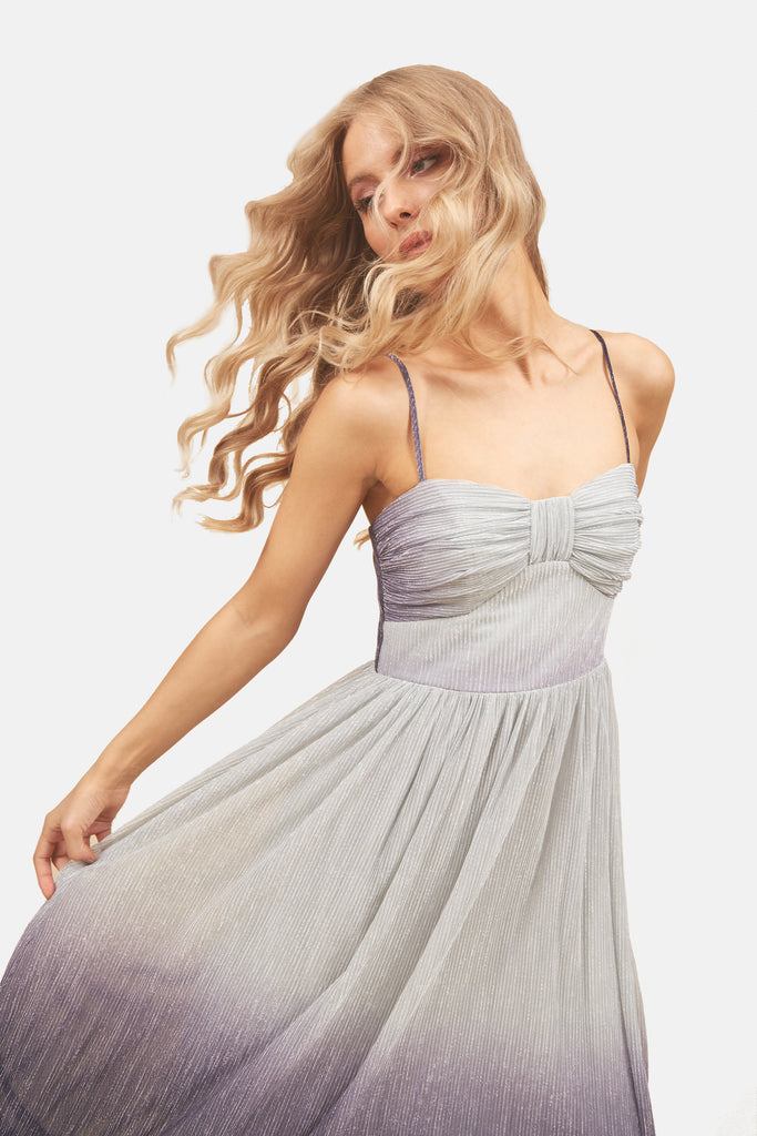 Traffic People Strappy Ombre Midi Dress in Grey and Blue Back View Image