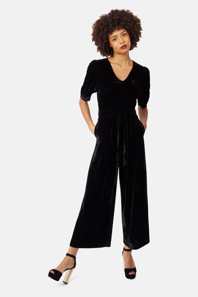 Traffic People Short Sleeve Velvet Hetty Jumpsuit in Black Front View Image