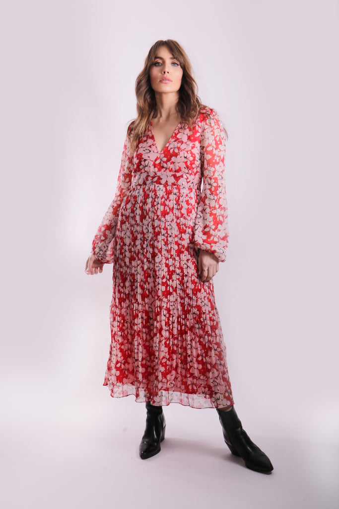 Fathomless Midi Dress in Red Floral Print