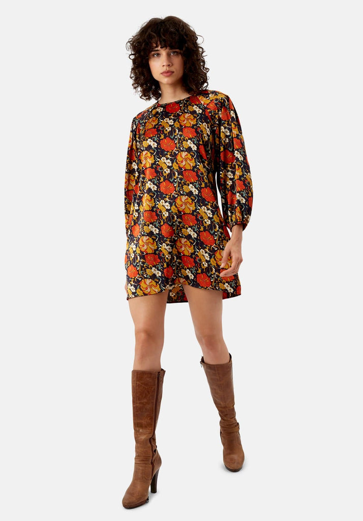 Traffic People Please Me Shift Floral Dress in Navy Front View Image