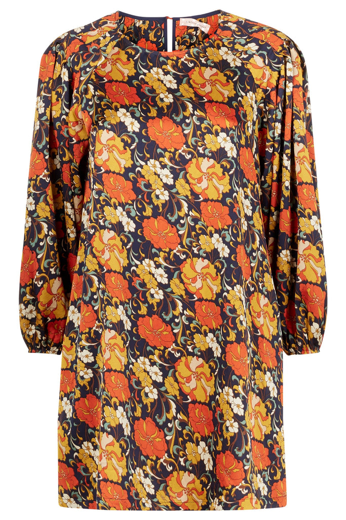 Traffic People Please Me Shift Floral Dress in Navy FlatShot Image