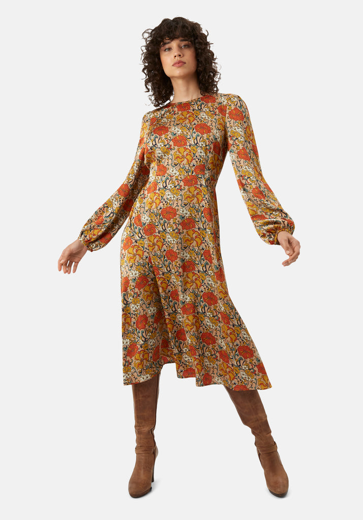 Traffic People Moodless Long Sleeve Floral Midi Dress in Beige Front View Image