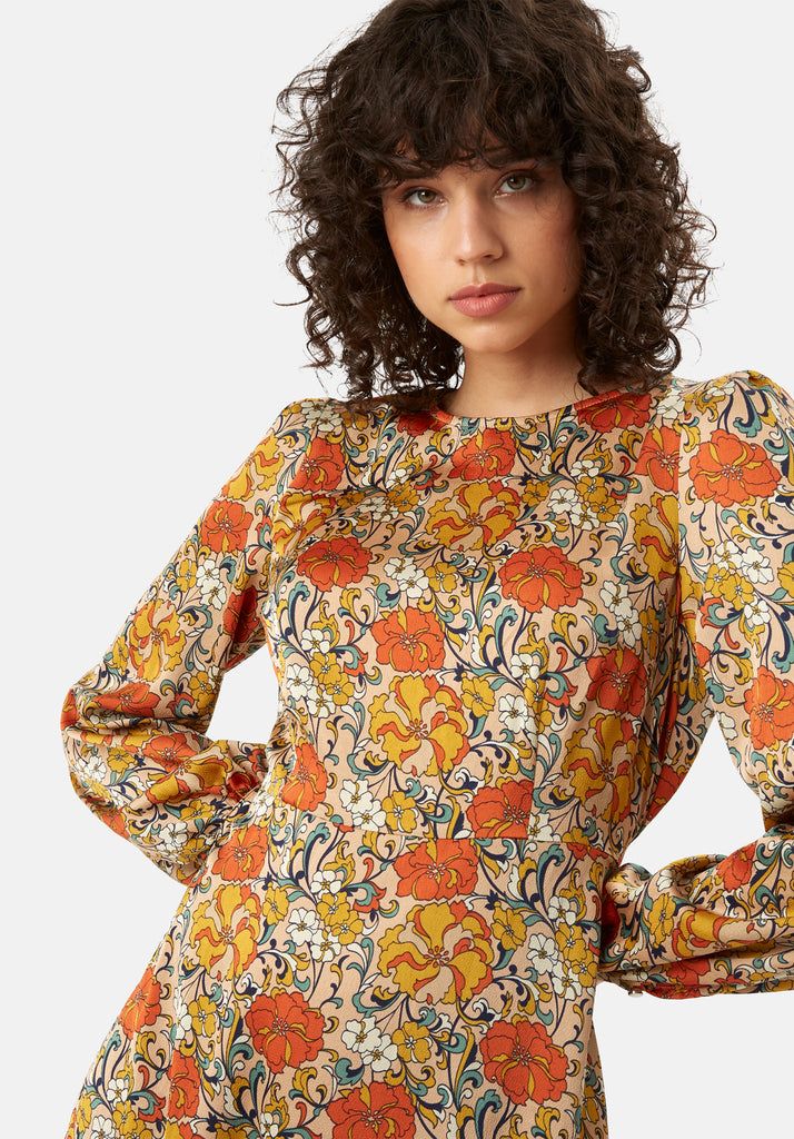 Traffic People Moodless Long Sleeve Floral Midi Dress in Beige Side View Image