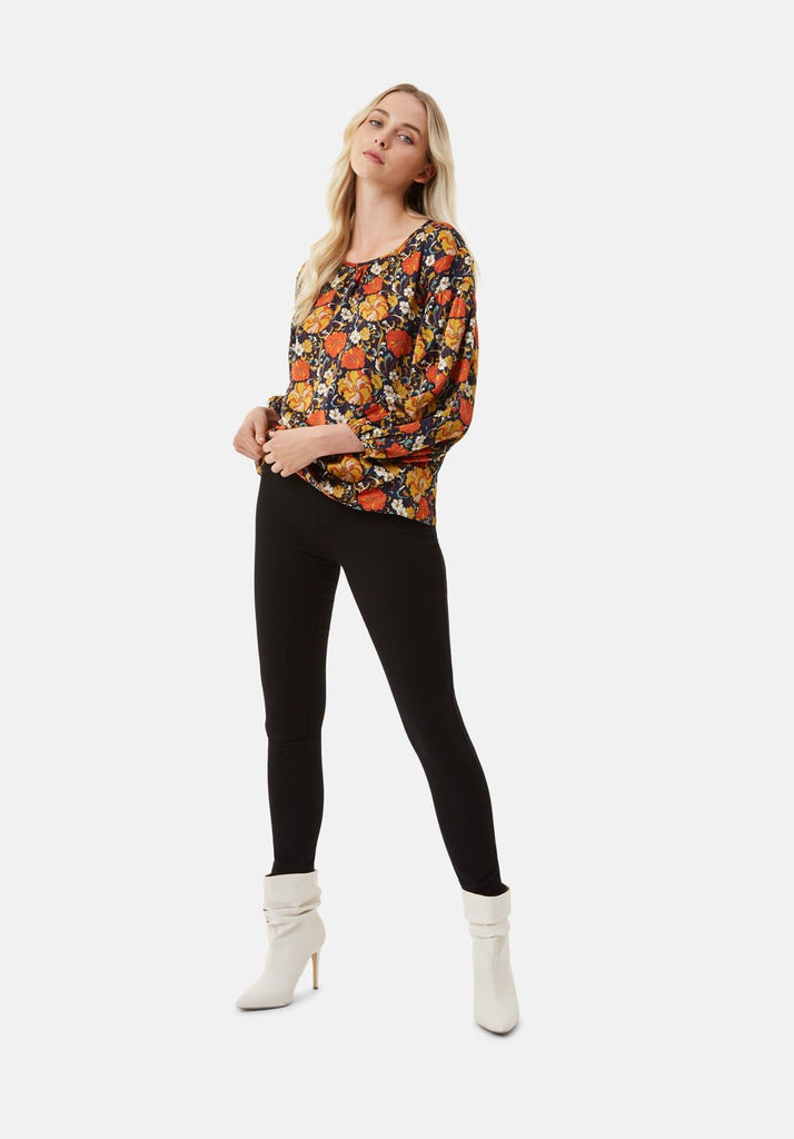 Traffic People Seasons Round Neck Floral Top in Navy Side View Image