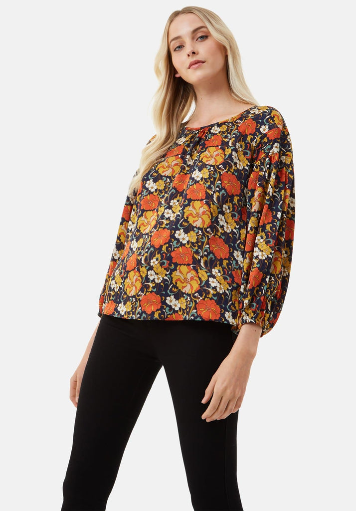 Traffic People Seasons Round Neck Floral Top in Navy Front View Image