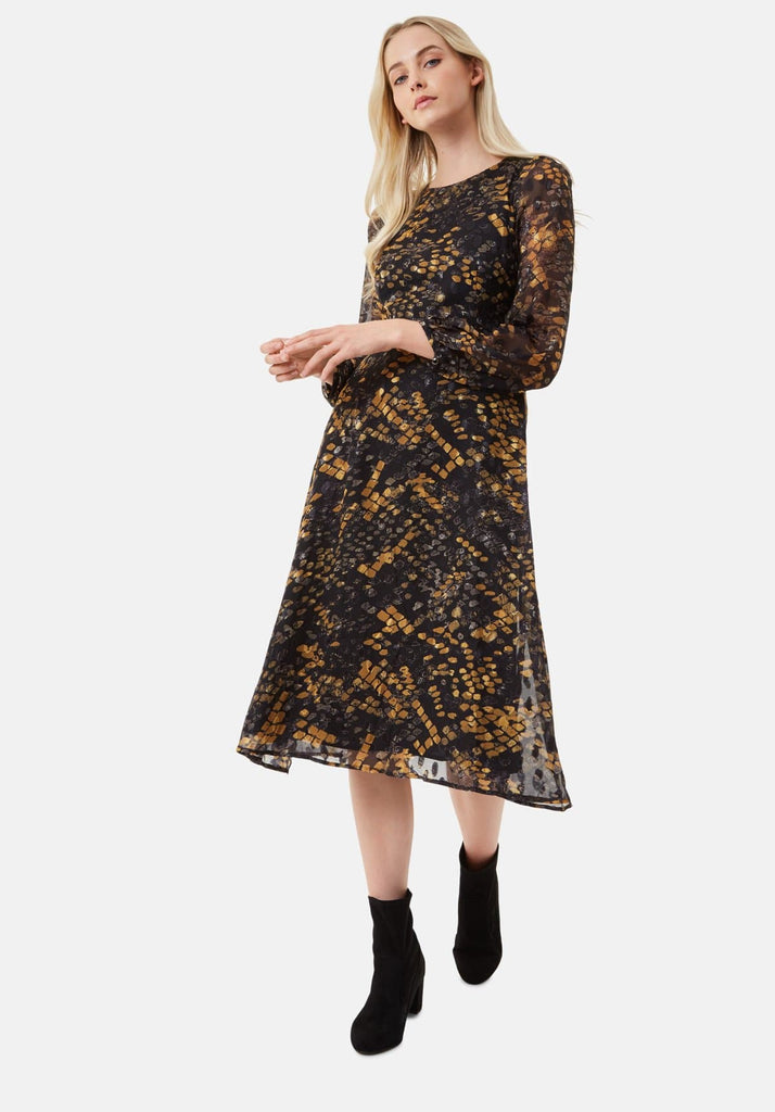 Traffic People Mood Midi Long Sleeve Dress in Mustard Front View Image