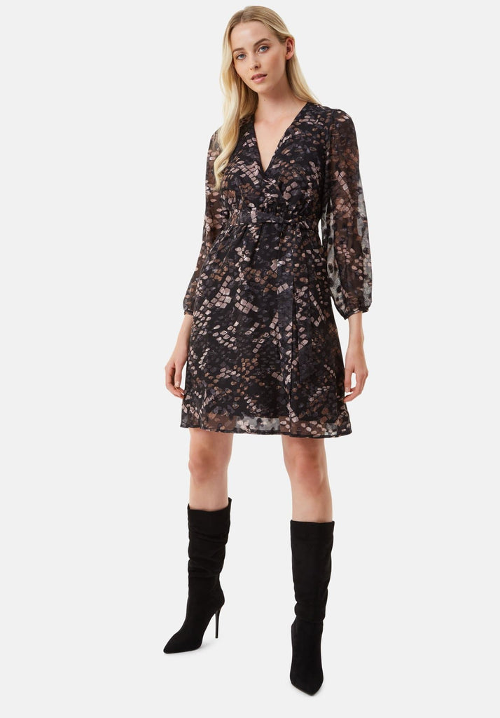 Traffic People Maybe Wrap Mini Dress in Mocha Back View Image
