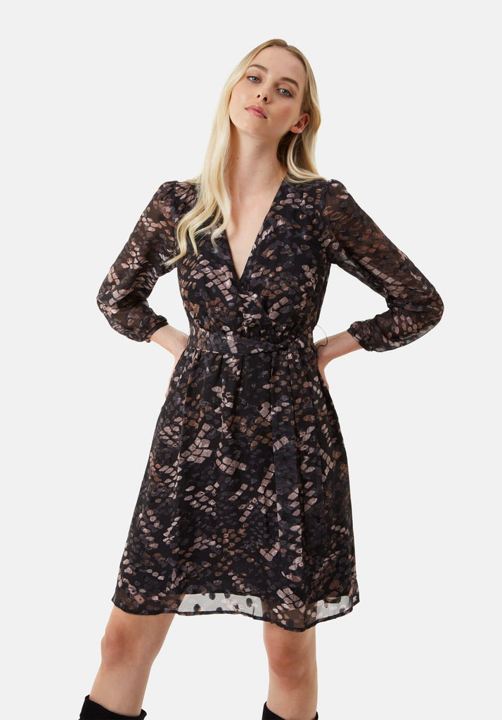 Traffic People Maybe Wrap Mini Dress in Mocha Front View Image