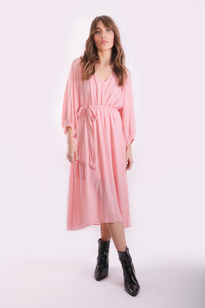 Traffic People Midi Long Sleeve Belt Up Dress in Pink Front View Image