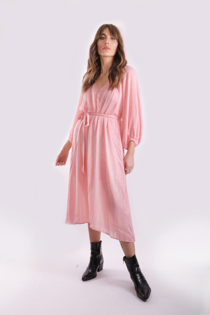 Traffic People Midi Long Sleeve Belt Up Dress in Pink Side View Image