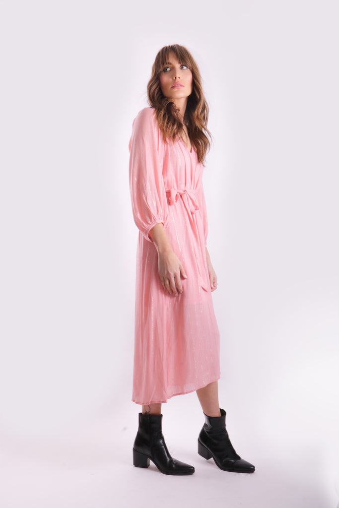 Traffic People Midi Long Sleeve Belt Up Dress in Pink Back View Image