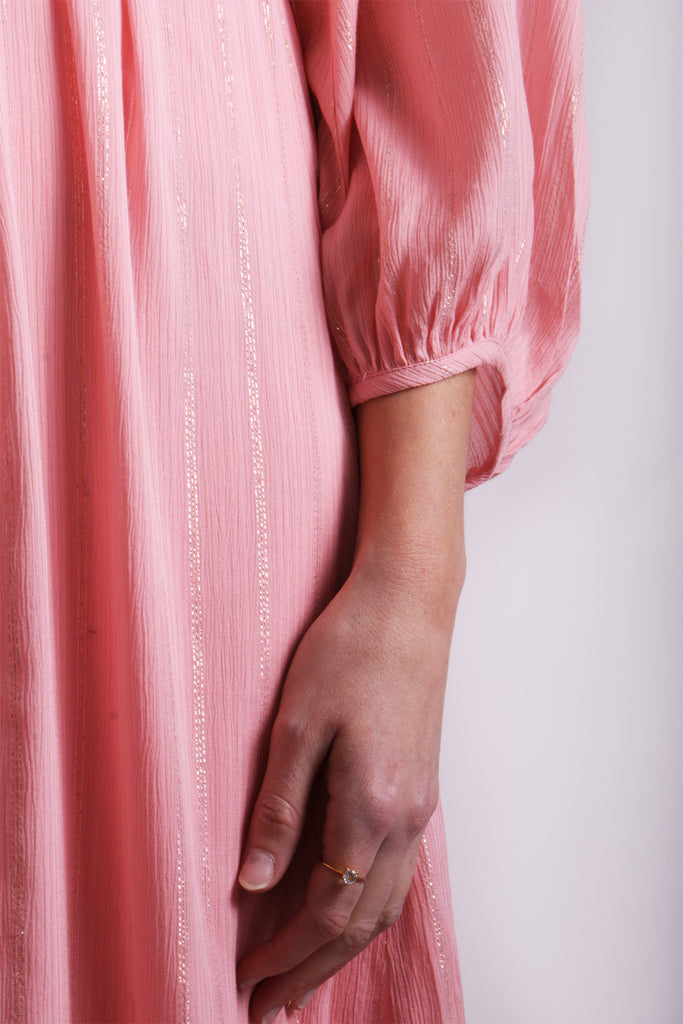 Traffic People Midi Long Sleeve Belt Up Dress in Pink Close Up Image
