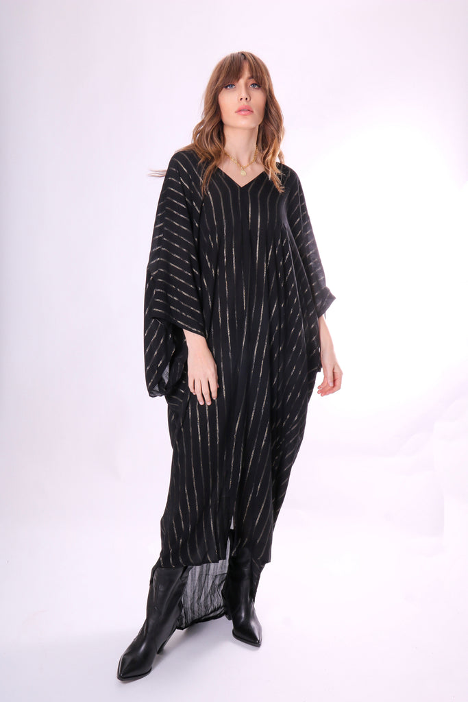 Traffic People A Quiet Life Maxi Kaftan in Black Front View Image