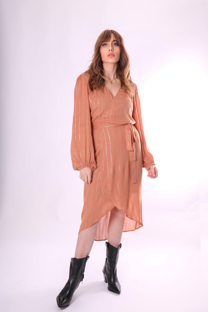 Traffic People Shrimp Long Sleeve Wrap Dress in Brown Front View Image