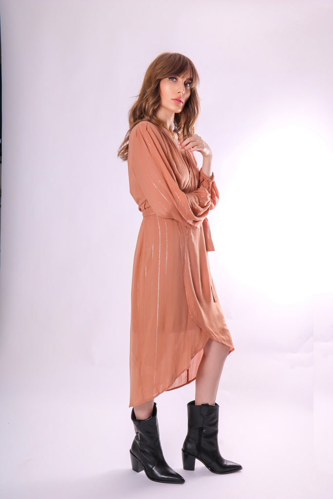 Traffic People Shrimp Long Sleeve Wrap Dress in Brown Side View Image