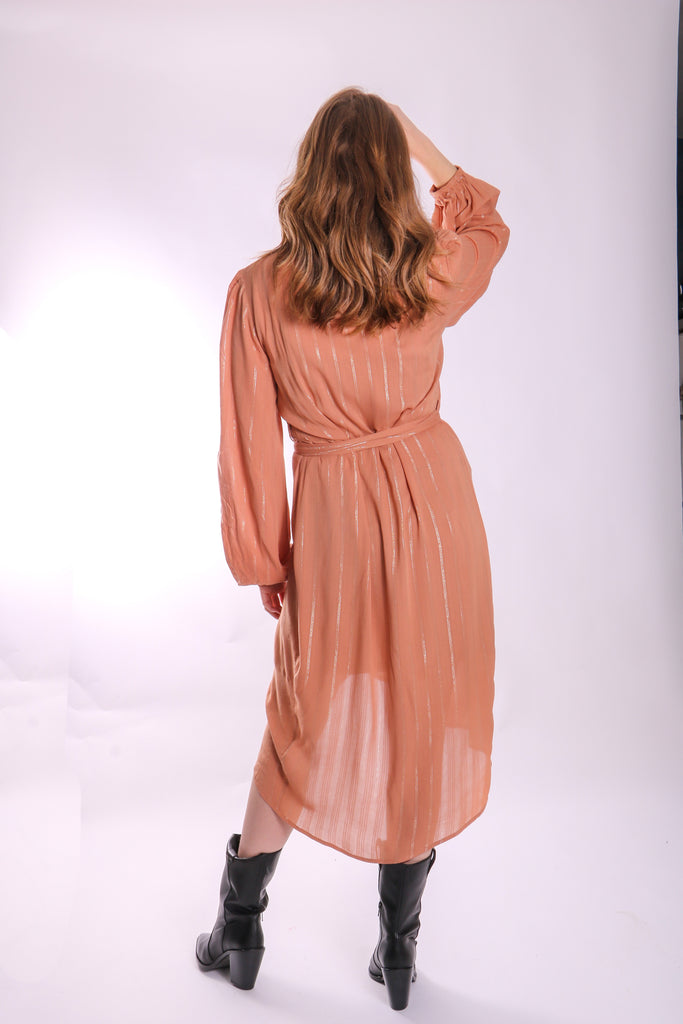Traffic People Shrimp Long Sleeve Wrap Dress in Brown Close Up Image