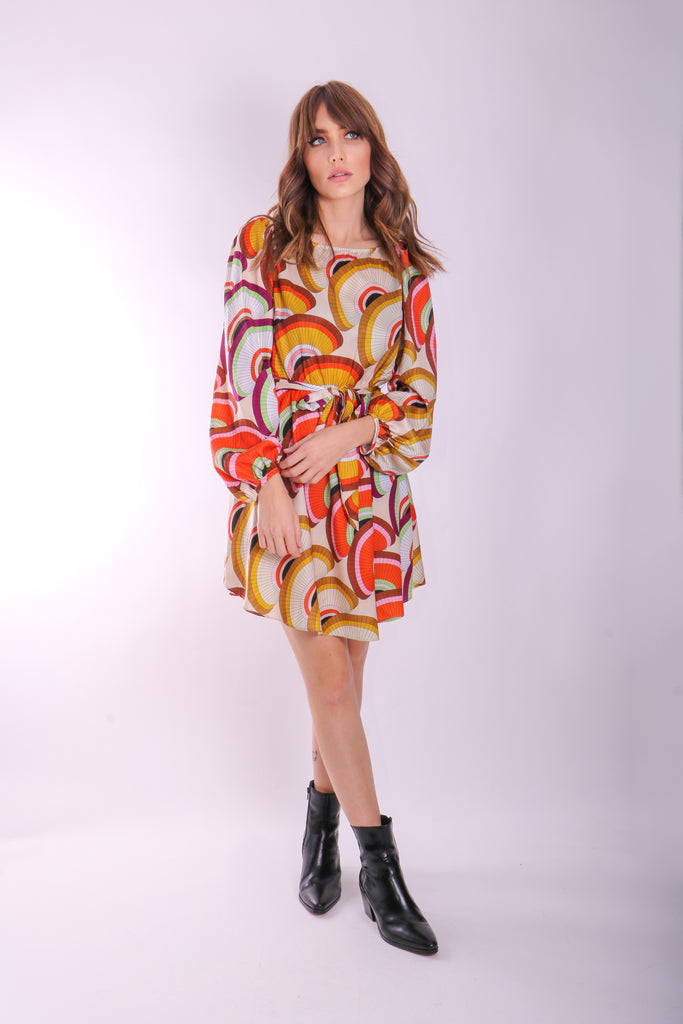 Traffic People Lily Geometric Long Sleeve Mini Dress Side View Image